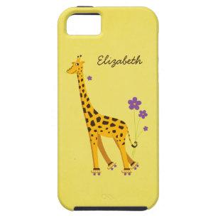De taaie Giraf Gele Gepersonaliseerde Girly van de Tough iPhone 5 Hoesje