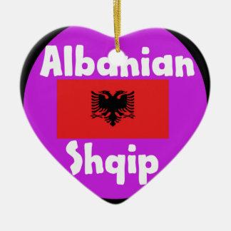 De Taal van Albanië en het Ontwerp van de Vlag Keramisch Hart Ornament