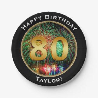 De tachtigste 80ste Verjaardag van het vuurwerk Papieren Bordje