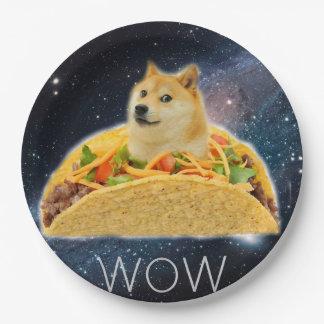 De taco van de doge - doge-shibe-doge hond-leuke papieren bordje