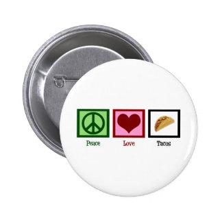 De Taco's van de Liefde van de vrede Ronde Button 5,7 Cm