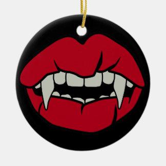 De Tanden van het flirt Rond Keramisch Ornament