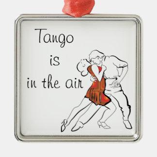 De tango is de Lucht Zilverkleurig Vierkant Ornament