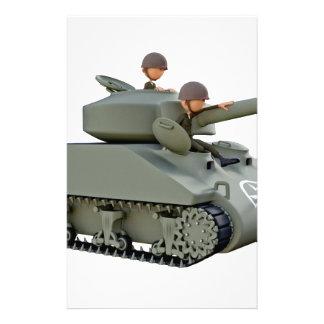 De Tank en de Militairen van de cartoon bij Gemak Briefpapier