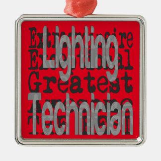 De Technicus Extraordinaire van de verlichting Zilverkleurig Vierkant Ornament