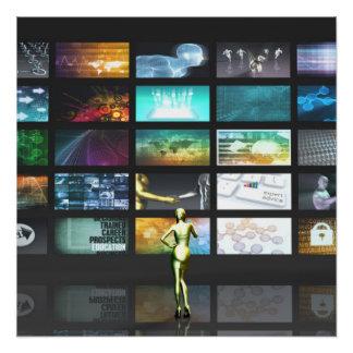 De Technologie van verschillende media met Vrouw Poster