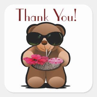 De teddybeer dankt u etiketteert vierkante sticker