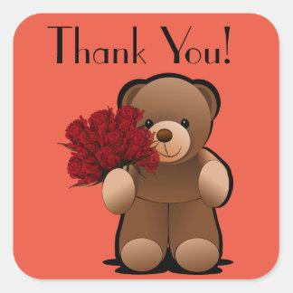 De teddybeer en de Rozen danken u etiketteren Vierkante Sticker