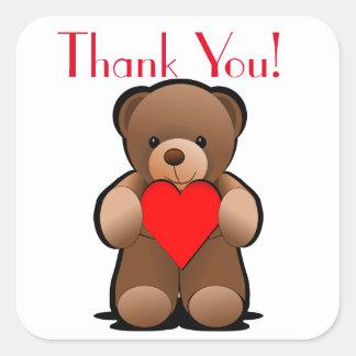 De teddybeer en het Hart danken u etiketteren Vierkante Sticker