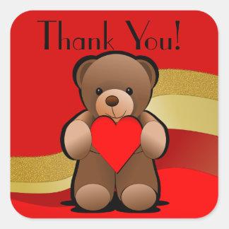 De teddybeer en het Hart danken u Vierkante Sticker