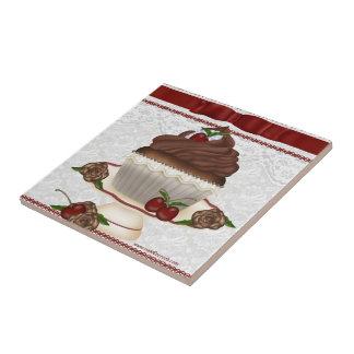 De Tegel van Cupcake van de Kers van de chocolade Keramisch Tegeltje