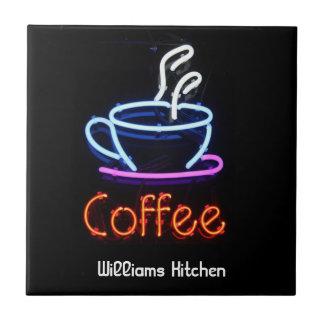 De Tegel van het Teken van de Koffie van het neon Keramisch Tegeltje