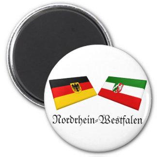 De Tegels van de Vlag van Nordrhein-Westflalen, Ronde Magneet 5,7 Cm