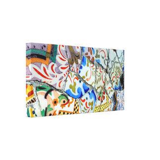 De Tegels van het Mozaïek van Guell van het Park v Canvas Afdruk