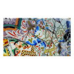 De Tegels van het Mozaïek van Guell van het Park v Afdruk