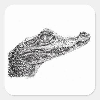 De Tekening van de Inkt van de Krokodil van het Vierkante Sticker