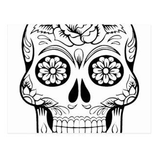 De tekening van de schedel met zwarte inkt op briefkaart