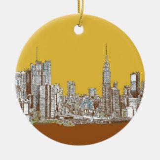 De tekening van New York Rond Keramisch Ornament