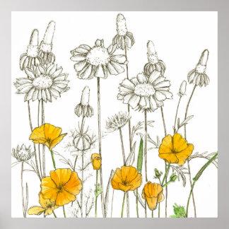 De Tekening van Wildflower van de Bloemen van de Poster