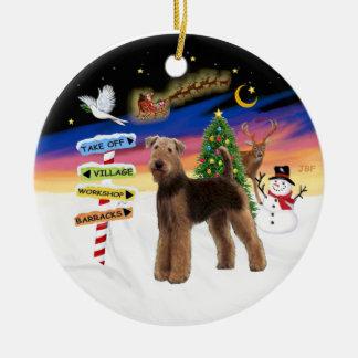 De Tekens van Kerstmis - Airedale (status) Rond Keramisch Ornament