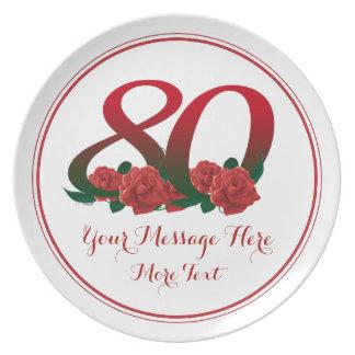 De tekst tachtigste verjaardag nummer 80 van de party borden
