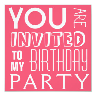 De Tekst van de Partij van de Verjaardag van het 13,3x13,3 Vierkante Uitnodiging Kaart
