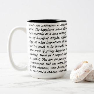 De Tekst van de trots en van het Nadeel Tweekleurige Koffiemok