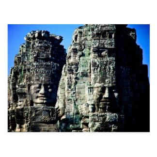 De Tempel van Bayon in Angkor Kambodja twee Briefkaart