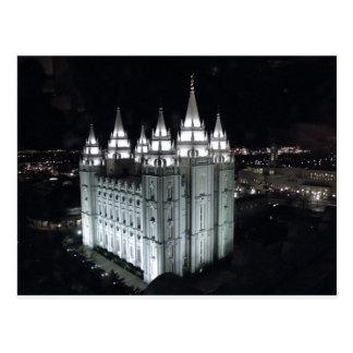 De Tempel van Salt Lake City bij nacht Briefkaart