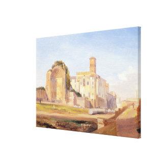 De tempel van Venus en Rome, Rome, 1840 (olie op p Canvas Print