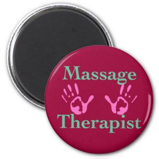 De therapeut van de massage: Roze handprint Magneet