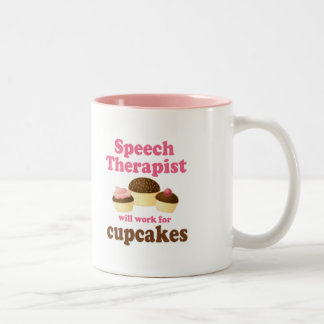 De therapeut van de toespraak tweekleurige koffiemok