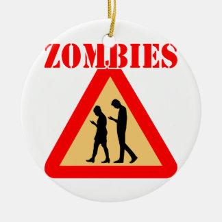 De Tienerjaren van de zombie met de Telefoons van Rond Keramisch Ornament