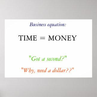 """De """"tijd is geld """" poster"""