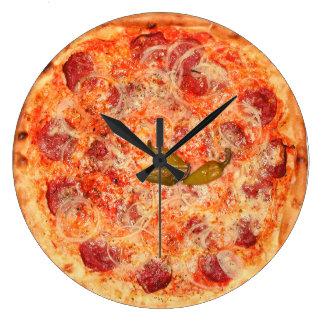 De Tijd van de Pizza van pepperonis Ronde Klok Large