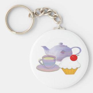 De tijd van de thee en kersen cupcake art. basic ronde button sleutelhanger