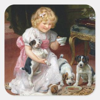 De Tijd van de thee voor Art. van de Hond van het Vierkante Sticker
