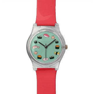 De Tijd van sushi! Funky (Munt) Horloge