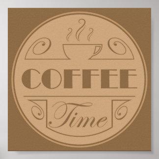 De tijdembleem van de koffie poster