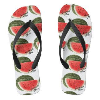 De tijdwatermeloen van de zomer teenslippers