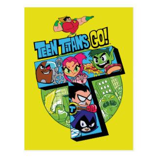 De Titanen van de tiener gaan! de Collage van de Briefkaart