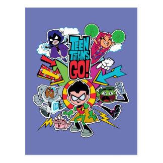 De Titanen van de tiener gaan! grafische de Pijl Briefkaart