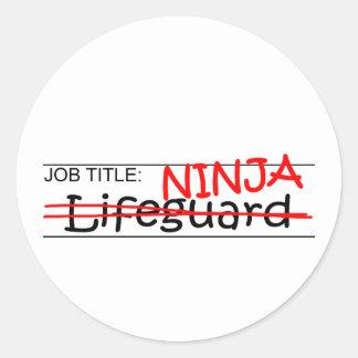 De Titel van de baan Ninja - Badmeester Ronde Sticker