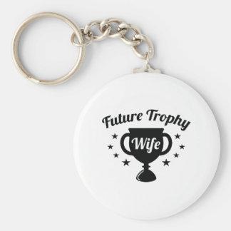 De toekomstige Vrouw van de Trofee Basic Ronde Button Sleutelhanger