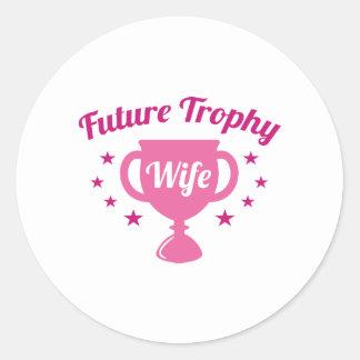 De toekomstige Vrouw van de Trofee Ronde Stickers
