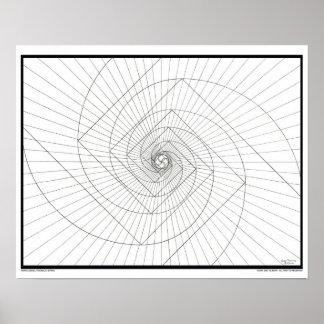 De toenemende Spiraal van Deosil Fibonacci Poster