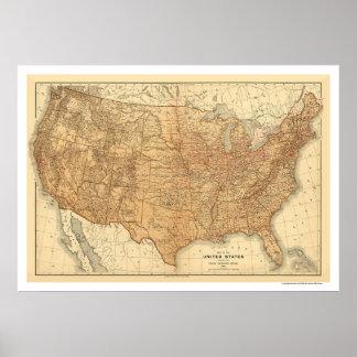 De topografische Kaart van de V.S. - 1883 Poster