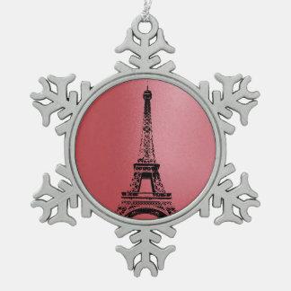 De Toren van Eifel - de Sneeuwvlok van Parijs Tin Sneeuwvlok Ornament