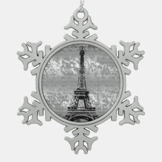 De Toren van Eifel - Parijs sneeuwvlok-Berijpt Tin Sneeuwvlok Ornament