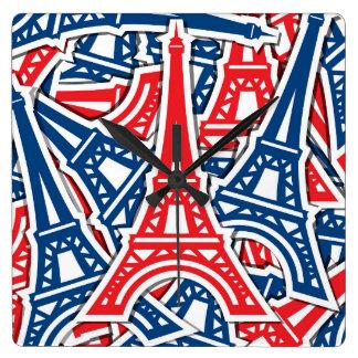 De Toren van Eiffel, het Patroon van Frankrijk Vierkante Klok